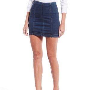 Free People Cute Short Dark Wash Denim Jean Skirt